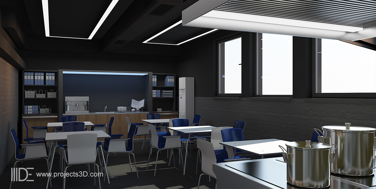 Industrial interior design of the College of Culinary Arts